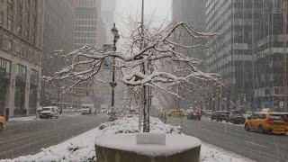 Spring snow storm slams New York City