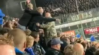 PEC Zwolle supporters slaan jonge Ajax supporter tijdens wedstrijd