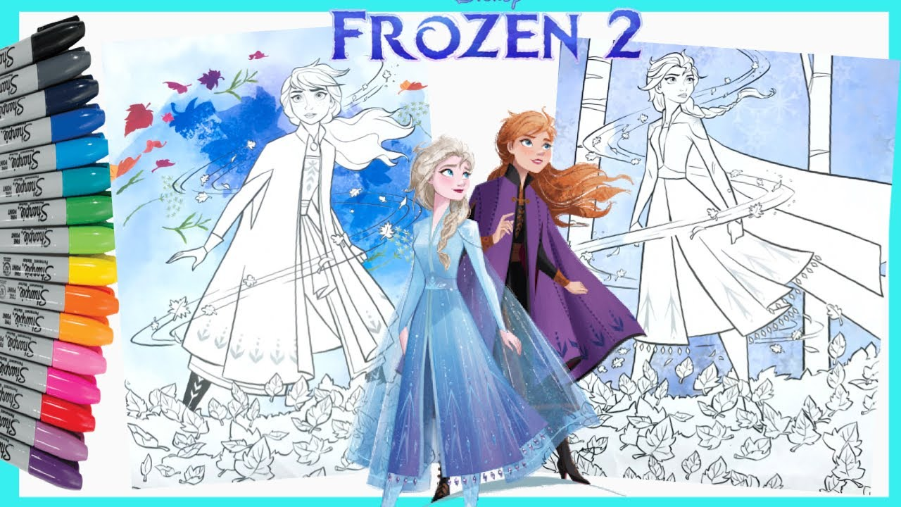 Mewarnai Elsa Frozen 2 Coloring Book Pages Youtube