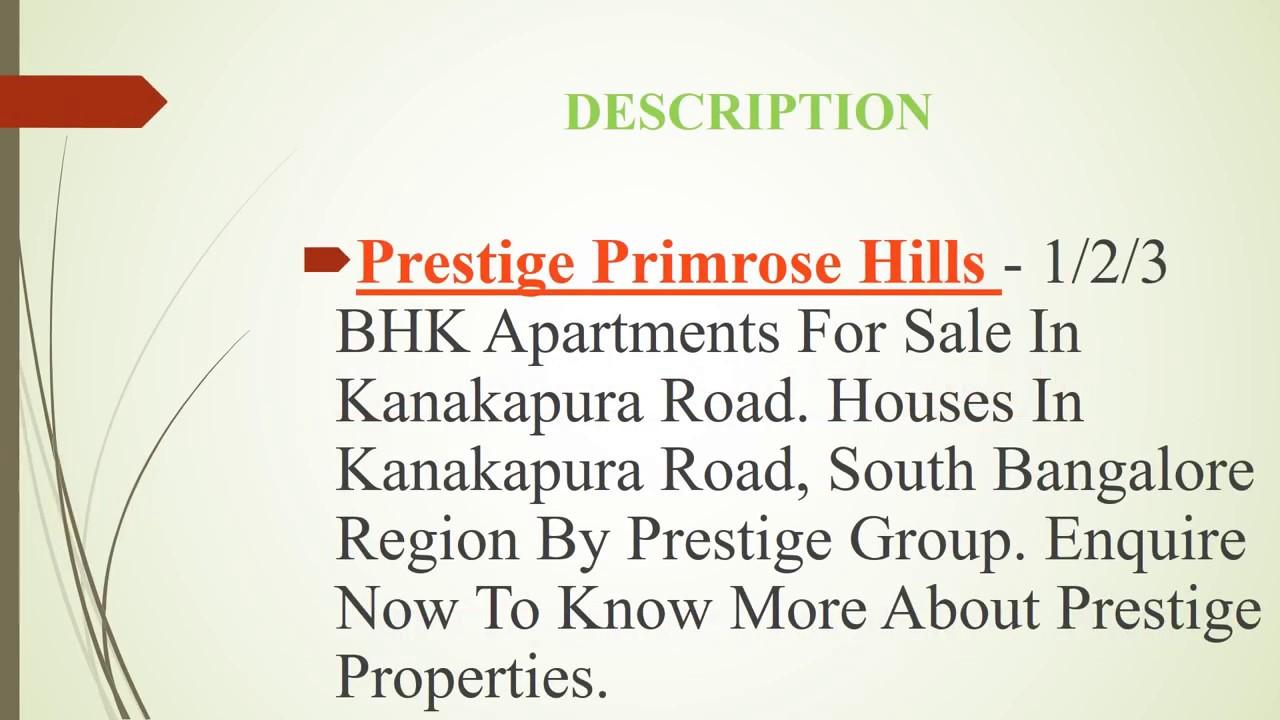 PRESTIGE PRIMROSE HILLS AT KANAKAPURA ROAD | www.prestigeprimerosehills.ind.in