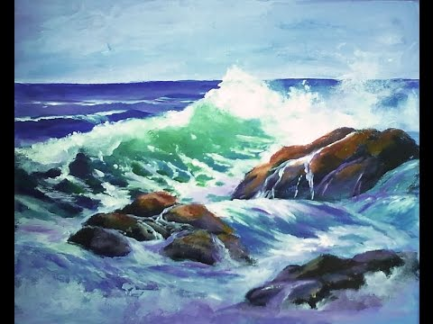 "How to Paint a ""Translucent Ocean Wave on the Rocks"" Part 1 - Ginger Cook's Master Class Painting"