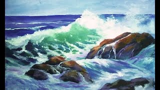 "How to Paint a ""Translucent Ocean Wave on the Rocks"" Part 1 - Ginger Cook"