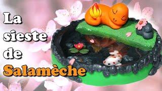 LA SIESTE DE SALAMECHE   Tuto fimo/resin Pokémon Charmander tiny pond