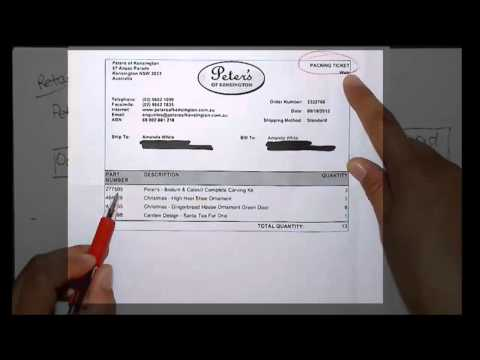 Invoice and shipping documents from a typical sales process