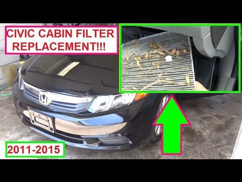 Honda Civic Cabin Air Filter Replacement (Pollen Filter) 2011   2015 Ninth  9th Generation Civic FB   YouTube