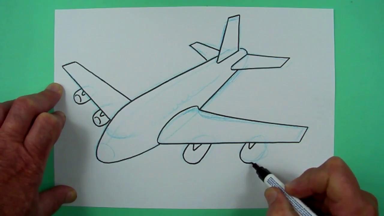 wie zeichnet man ein flugzeug zeichnen f r kinder youtube. Black Bedroom Furniture Sets. Home Design Ideas