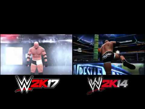 wwe 2k17 ps3 vs wwe 2k14 goldberg entrance comparison
