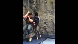Funny belaying fail with heavy friend