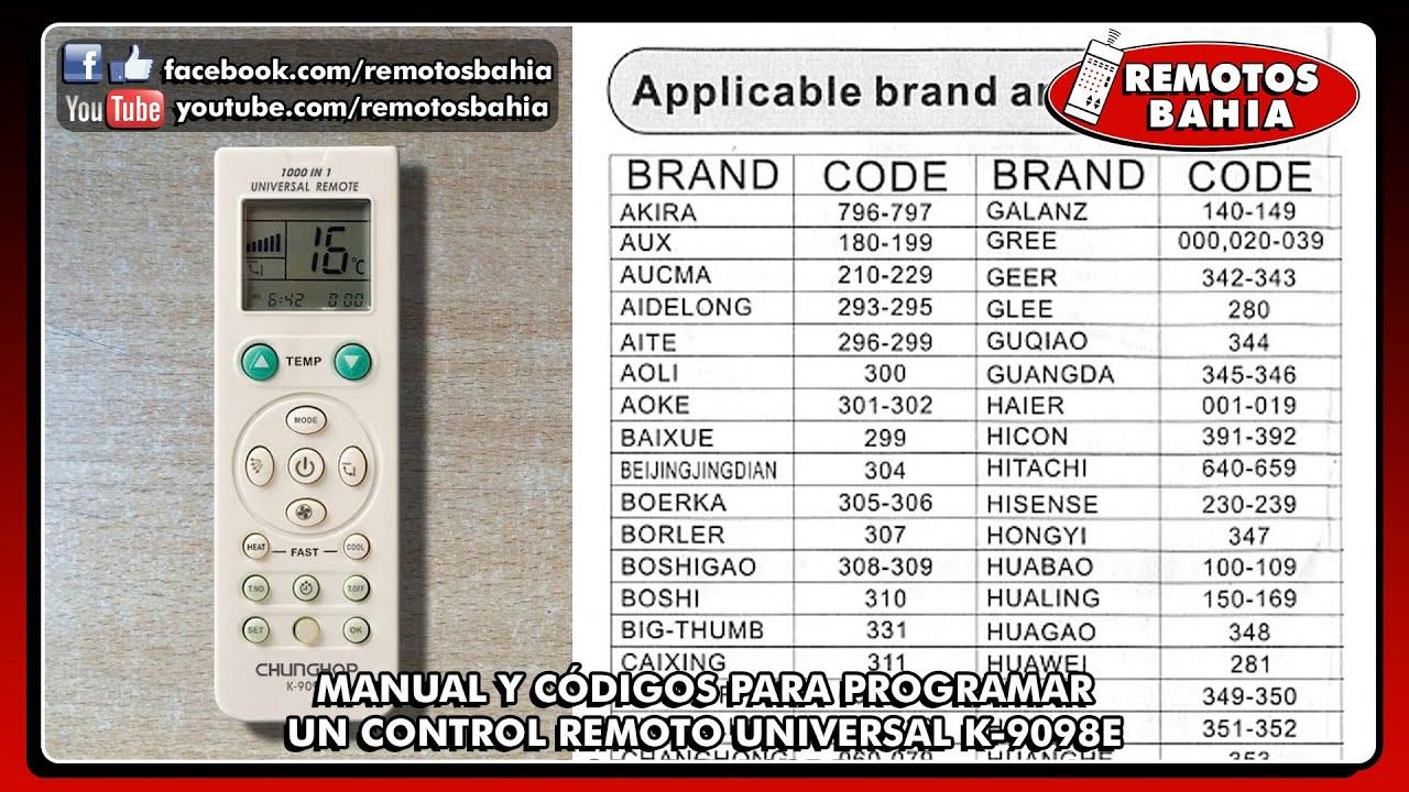 C 211 Digos Para Programar Control Remoto Universal K 9098e