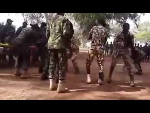 Nigerian army troops at the frontline celebrating salah