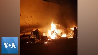 Burning Vehicles in Aftermath of Soleimani Strike