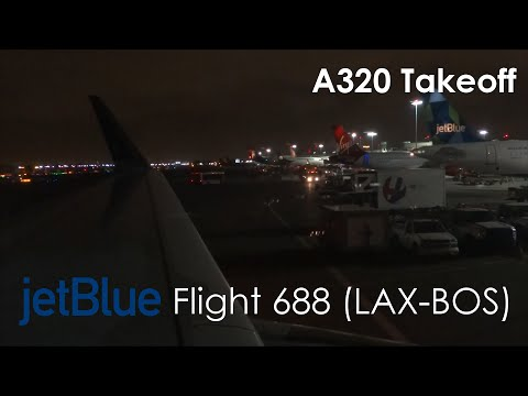 JetBlue A320 Midnight Pushback, Taxi, Rejected Takeoff, and Takeoff from Los Angeles