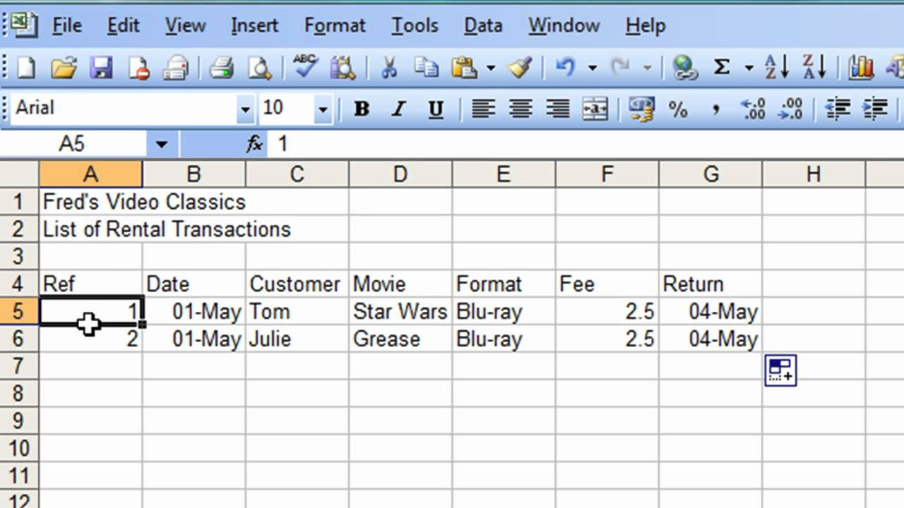movie database excel