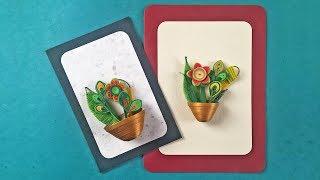 Paper Quilling Flower Card Design | Quilling Miniature Flower Pot In 3D