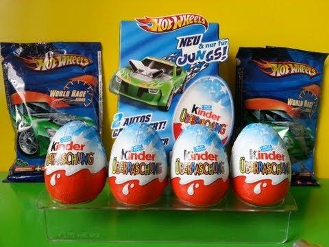Видео, 8 Kinder Surprise Eggs Hot Wheels Edition  Blind Bags