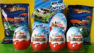 8 Kinder Surprise Eggs Hot Wheels Edition + Blind Bags