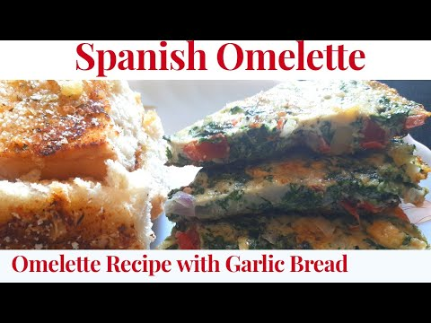 how-to-make-spinach-spanish-omelette-recipe-i-omelette-recipe-i-garlic-bread-on-pan-i