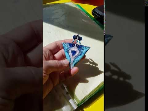 """Серьги """"Треугольник"""" из бисера"""