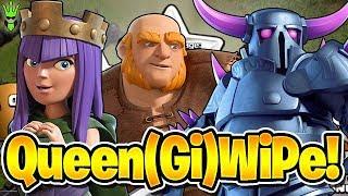 QUEENWIPE IN TITANS! - Queen Walk GiWiPe Farming - Giant Poison Event Progress - Clash of Clans