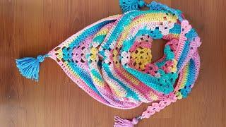 Kolay Tığişi Üçgen Şal / Easy Crochet Shawl