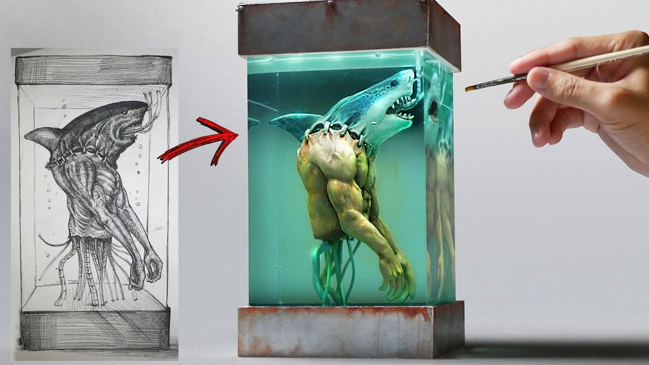 How To Make Mad Scientist's Shark Man Diorama / Polymer Clay / Epoxy resin
