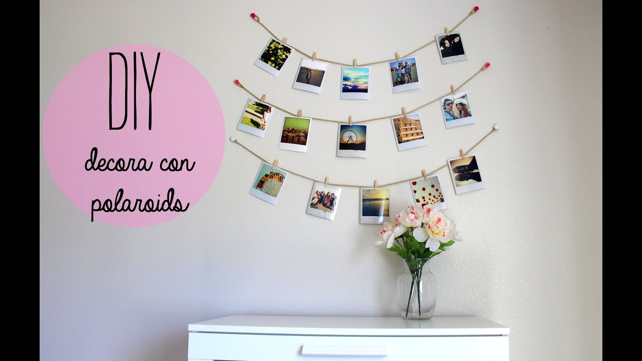 Diy decora tu cuarto con polaroids estilo tumblr youtube - Collage de fotos para pared ...