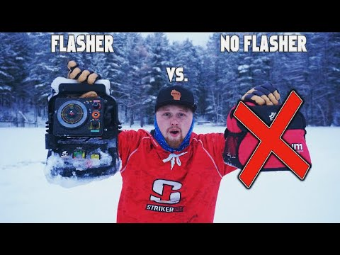 Flasher Vs. No Flasher Ice Fishing CHALLENGE! (Big Crappies)