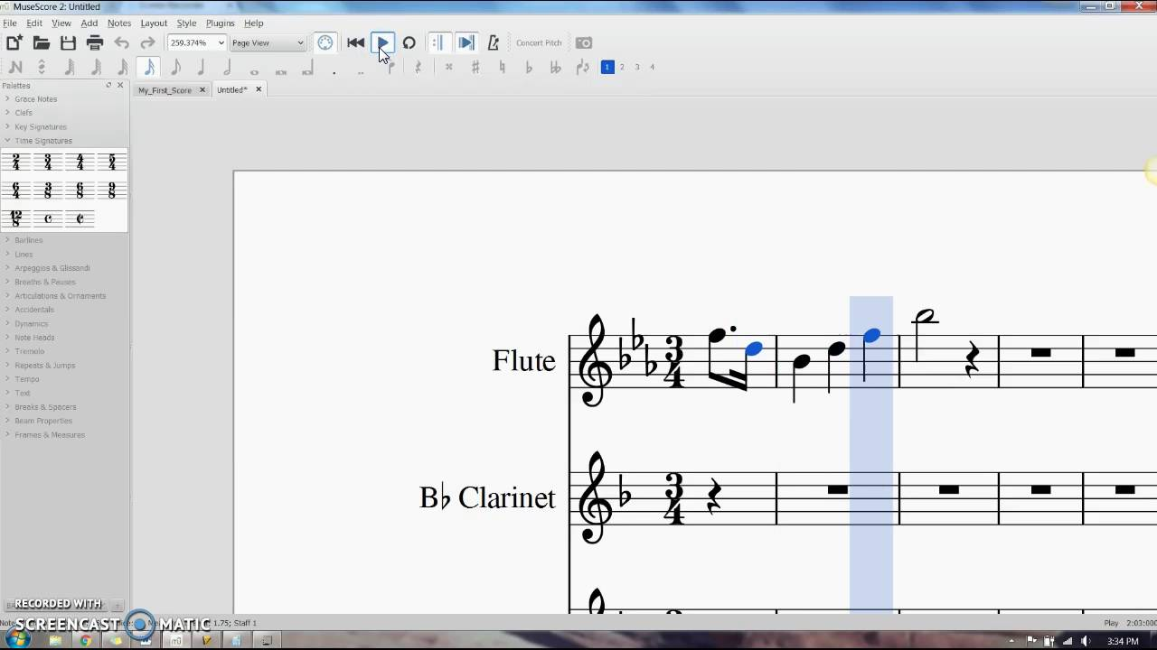Musescore 2: Pick up measures