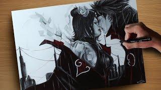 Drawing Konan and Pain ( Naruto ) Desenhando a Konan e o Pain