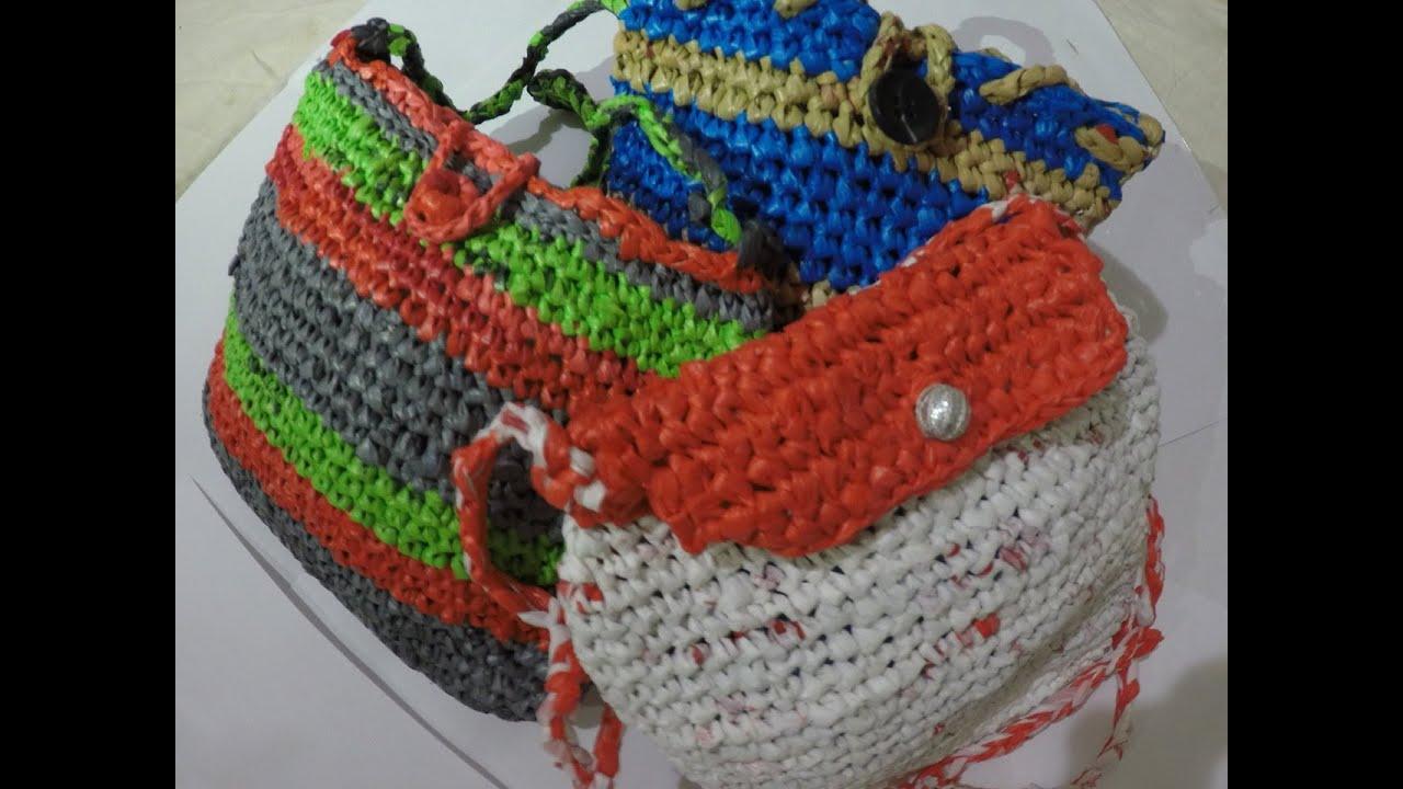 9526aede444b8 كروشية شنطه بلاستك Crochet plastic bags - YouTube