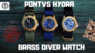 (4K) PONTVS HYDRA BRASS DIVER MEN'S WATCH REVIEW