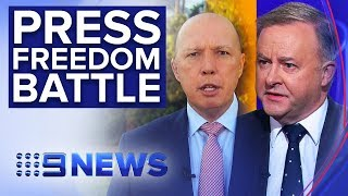 Albanese and Dutton clash following police raids on media | Nine News Australia
