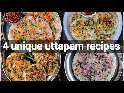 4 ways uttapam recipe   instant vegetable uttapam recipes   masala uttapam recipe collection