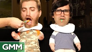 Ultimate Baby Food Taste Test(Can we figure out baby food flavors just by tasting them? GMM #751! We're nominated for The Streamy's 'Show of the Year' & you can help us win by voting!, 2015-09-04T10:00:01.000Z)