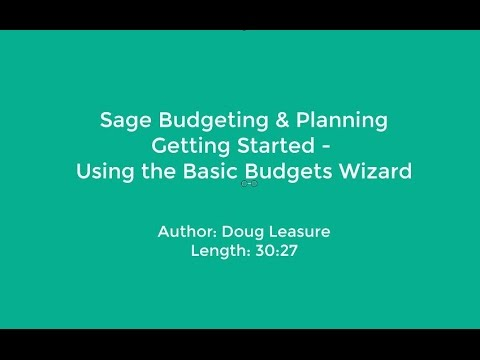 Sage Budgeting and Planning  - Create Basic Budgets