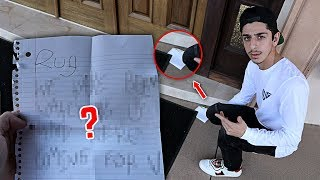 Creepy note left at our front door... (WTF)