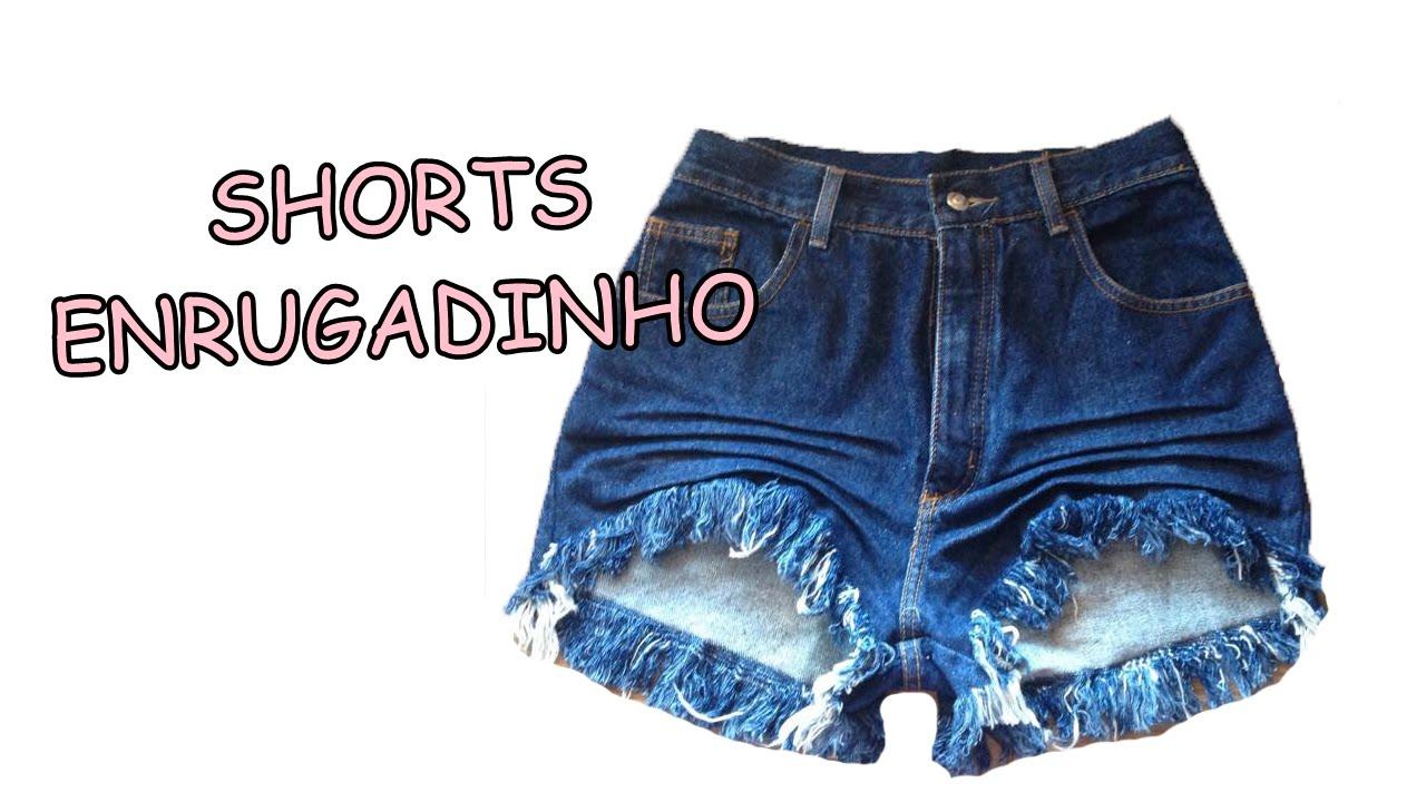 Diy Como fazer amassadinho enrugadinho no shorts  fc9af3a403f