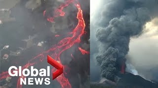 La Palma volcano: Drone video shows new vent spurting hot ash as rivers of lava continue flowing
