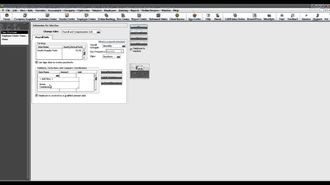 how to set up employees in quickbooks