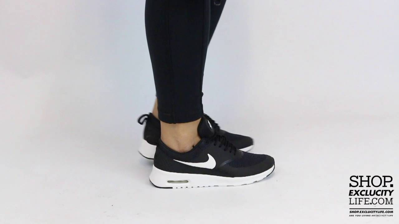 finest selection 085da 8e13b Women s Nike Air Max Thea Black White On feet Video at Exclucity - YouTube
