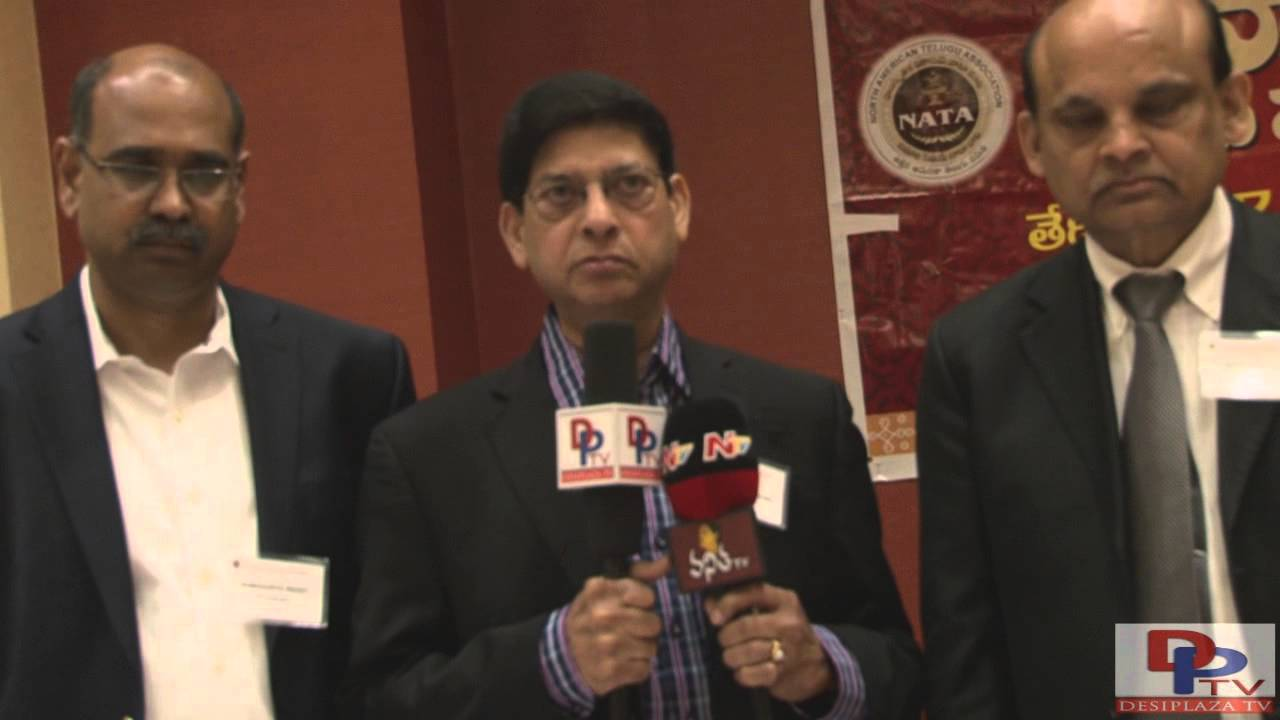 Dr Mohan Mallam, Ramana Reddy and others giving introduction of NATA 2016 Convention