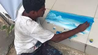 Artista de rua melhor que Picasso. Desenho a mao. Eu