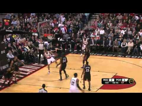 Nicolas Batum dunks on Miami Heat