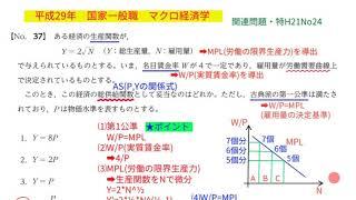 平成29年 国家一般 マクロ経済学 No.37 総供給関数
