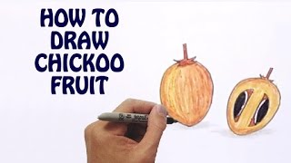 Learn How To Draw Chickoo Fruit in Easy Steps | Draw Fruits | Basic Drawing Lessons For Kids