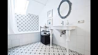 Белая плитка 20х20 с орнаментом для ванной
