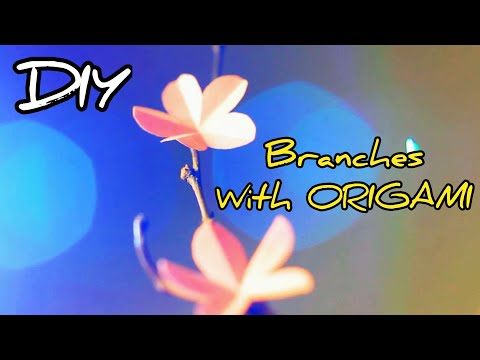 DIY origami flowers | Origami paper flowers with branches | how to make Origami flowers