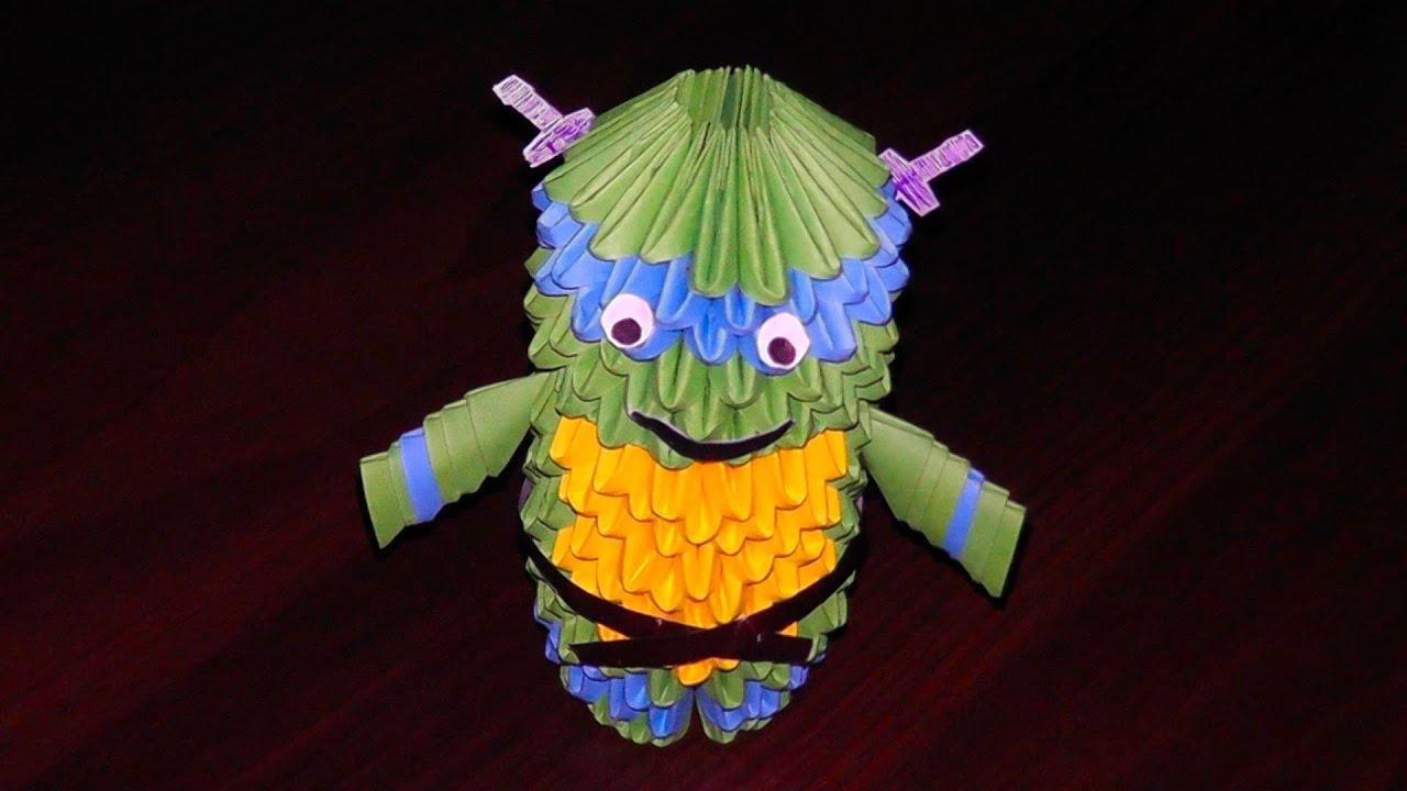 Ниндзя черепашка Леонардо из модулей оригами мастер класс ...