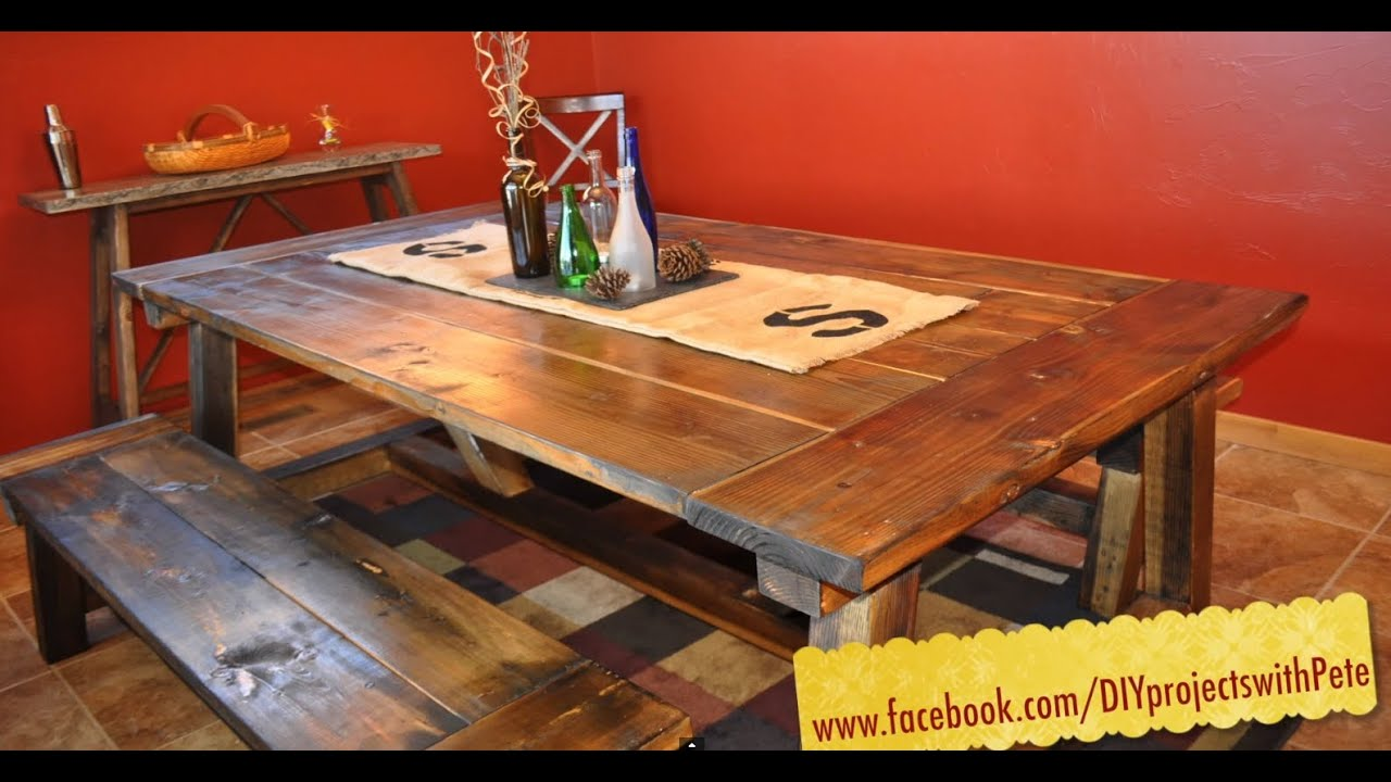 Large Farmhouse Kitchen Table How To Build A Farmhouse Table The Most Complete Video Online