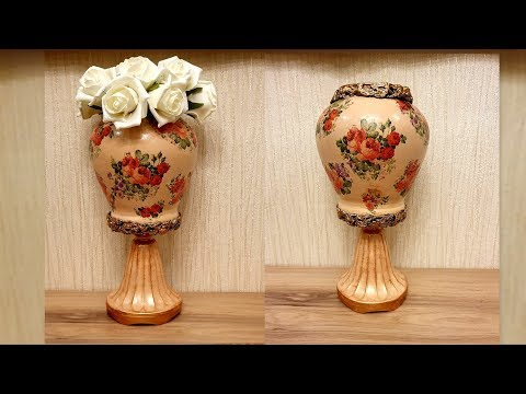 DIY/ Vase making at home | Napkin Decoupage on glass